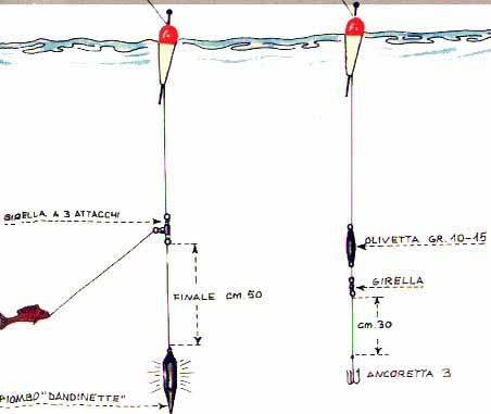Montature per pesca al persico col galleggiante