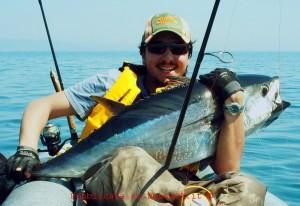 Pierluigi Cantafio con il suo primo tonno.